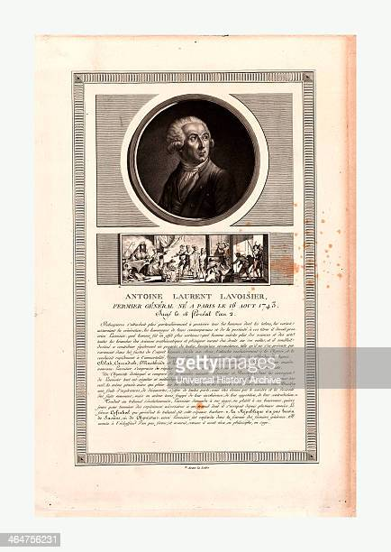 Headandshoulders Portrait Of French Chemist Antoine Laurent Lavoisier Vignette Below Portrait Depicts His Arrest And Conviction In 1794 For Being A...