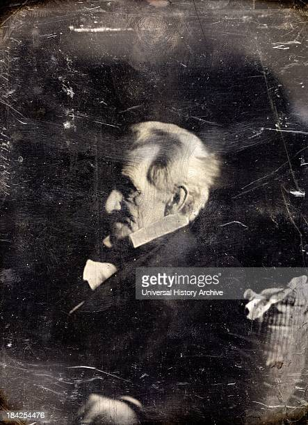 A headandshoulders portrait photograph of former US President Andrew Jackson Showing him in semiprofile Photographed by Edward Anthony Circa 18441845