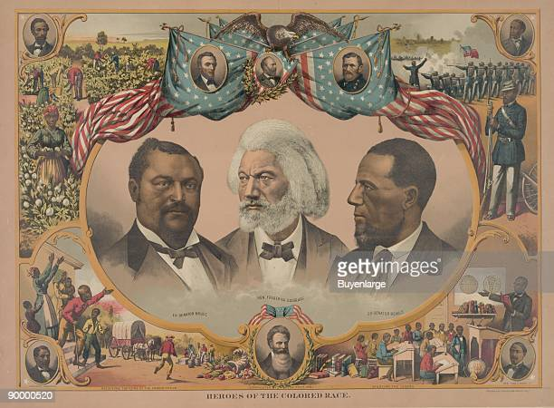 Headandshoulders portraits of Blanche Kelso Bruce Frederick Douglass and Hiram Rhoades Revels surrounded by scenes of African American life and...