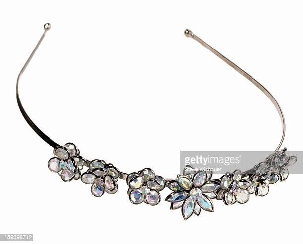 A headband with rhinestone crystal flowers