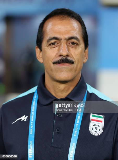 Headcoach Abbas Chamanian of Iran üpse prior to the FIFA U17 World Cup India 2017 group C match between Iran and Guinea at Pandit Jawaharlal Nehru...