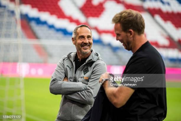 Headcoach Adi Huetter of Borussia Moenchengladbach and Headcoach Julian Nagelsmann of FC Bayern Muenchen are seen ahead of the preseason friendly...
