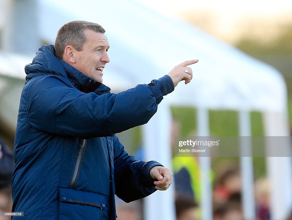Headcoach Aidy Boothroyd of U20 England reacts during the match between U20 Germany v U20 England at Sportpark Skoatterwald on October 9, 2014 in Heerenveen, Netherlands.