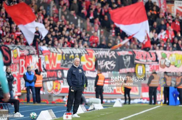 Headcoach Andre Hofschneider of 1 FC Union Berlin after the second Bundesliga match between Eintracht Braunschweig and Union Berlin on February 18...