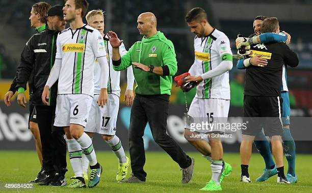 Headcoach Andre Schubert of Moenchengladbach leaves the pitch with Havard Nordveit Oscar Wendt and Alvaro Dominguez after the Bundesliga match...