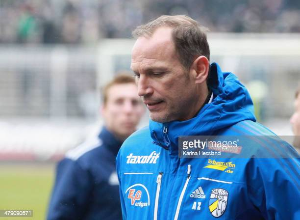 Headcoach Andreas Zimmermann of Jena looks disappointed after the Regionalliga match between FC Carl Zeiss Jena and 1FC Magdeburg at Ernst Abbe...