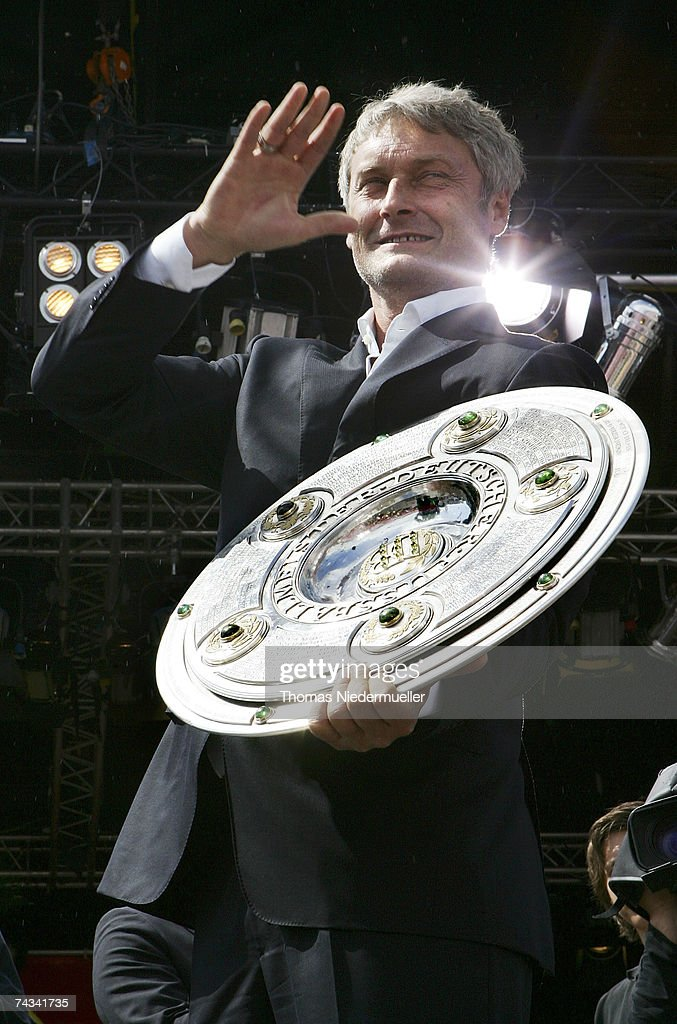 Headcoach Armin Veh of VfB Stuttgart arrives at the Stuttgart Fan Mile at the Cannstatter Wasen on May 27, 2007 in Stuttgart, Germany. Thousands of fans appeared to greet the team the day after they won the 2nd place in the DFB Cup 2007 match in Berlin.