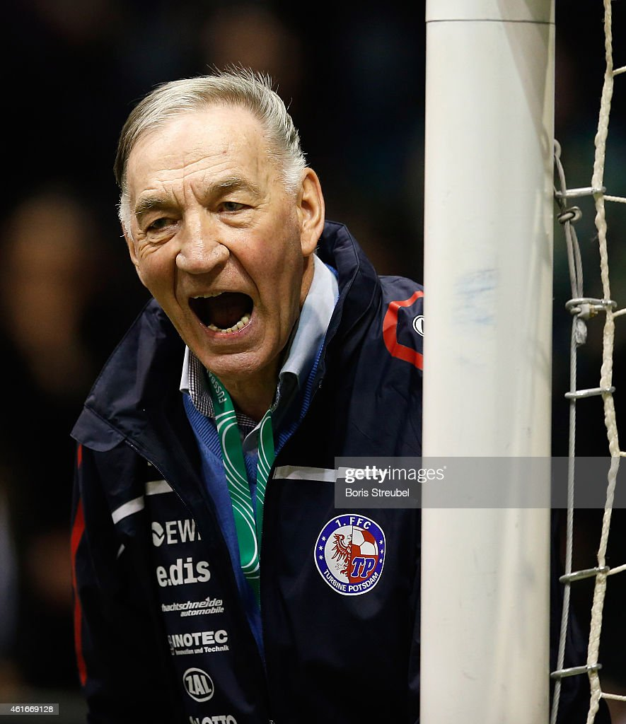 Headcoach Bernd Schroeder of Turbine Potsdam reacts during the DFB Women's Indoor Football Cup 2015 match between TSG 1899 Hoffenheim and Turbine Potsdam at GETEC-Arena on January 17, 2015 in Magdeburg, Germany.