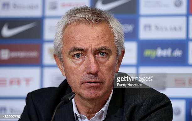 Headcoach Bert van Marwijk of Hamburg looks on during the press conference after the Bundesliga match between Eintracht Braunschweig and Hamburger SV...