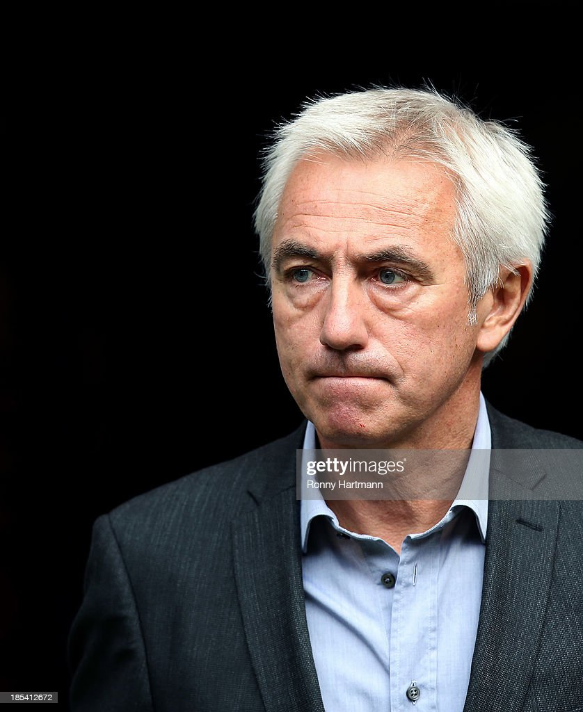 Headcoach Bert van Marwijk of Hamburg looks on prior to the Bundesliga match between Hamburger SV and VfB Stuttgart at Imtech Arena on October 20, 2013 in Hamburg, Germany.