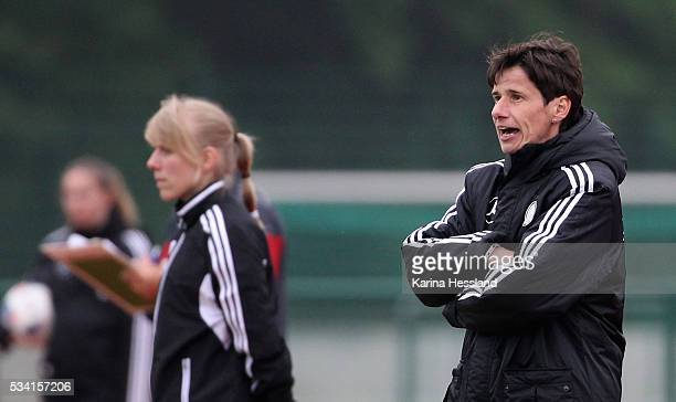 Headcoach Bettina Wiegmann of Germany reacts during the International Friendly match between U15 Girls Germany and U15 Girls Czech Republic at...