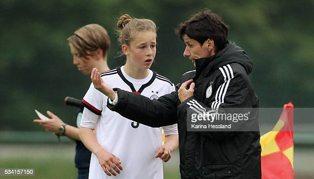Headcoach Bettina Wiegmann talks to Anna Aehling of Germany during the International Friendly match between U15 Girls Germany and U15 Girls Czech...