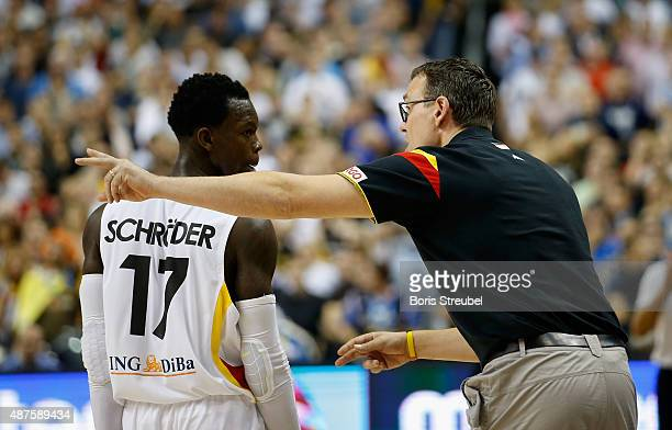Headcoach Chris Fleming of Germany gives advices to Dennis Schroeder during the FIBA EuroBasket 2015 Group B basketball match between Germany and...