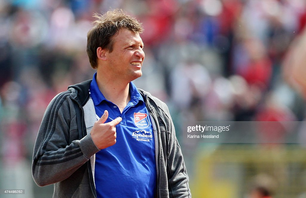 Headcoach Claus Schromm of Unterhaching reacts during the Third League match between FC Rot Weiss Erfurt and SpVgg Unterhaching at Steigerwaldstadion on May 23, 2015 in Erfurt, Germany.