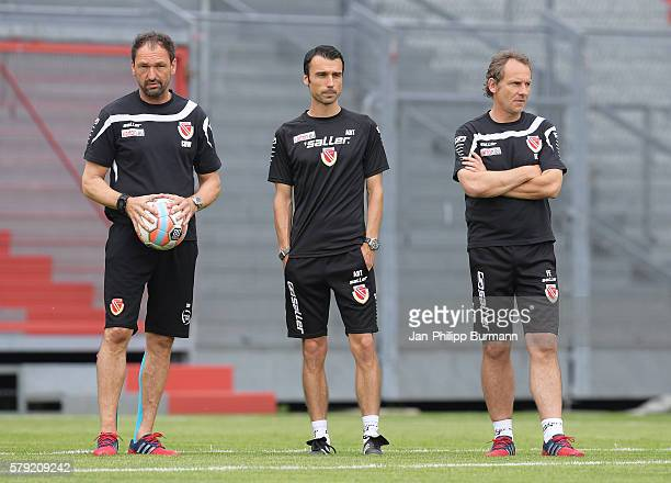 Headcoach ClausDieter Wollitz assistant coach Sebastian Abt and assistant coach Frank Eulberg of FC Energie Cottbus during the test match between FC...
