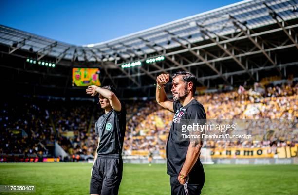 Headcoach Cristian Fiel of Dresden reacts during the Second Bundesliga match between SG Dynamo Dresden and SSV Jahn Regensburg at...