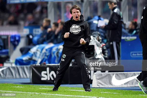 Headcoach Daniel Stendel of Hannover 96 during the Bundesliga match between Hertha BSC and Hannover 96 at Olympiastadion on April 8, 2016 in Berlin,...