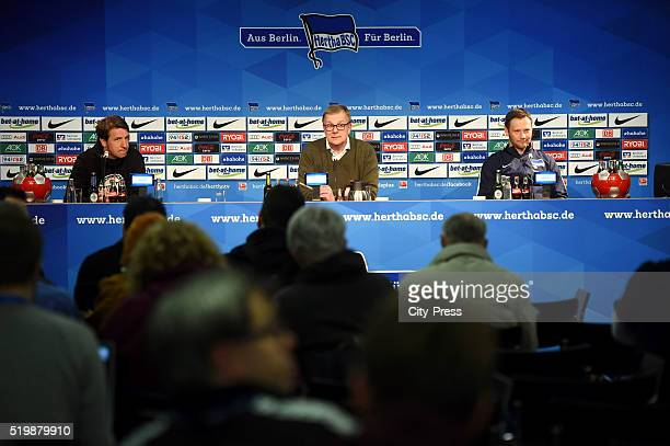 Headcoach Daniel Stendel of Hannover 96 spokesman Peter Bohmbach and coach Pal Dardai of Hertha BSC during the press conference after the match...