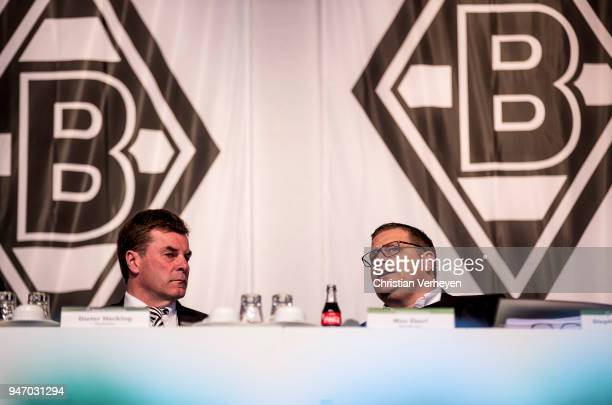 Headcoach Dieter Hecking and Director of Sport Max Eberl of Borussia Moenchengladbach during the Annual Meeting of Borussia Moenchengladbach at...