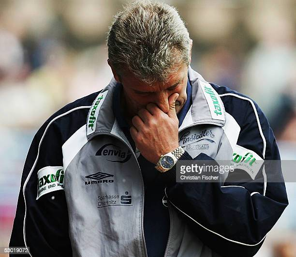 Headcoach Dietmar Demuth of Chemnitz looks dejected during the match of the Third Bundesliga between Chemnitzer FC and VfB Lubeck on June 4, 2005 in...