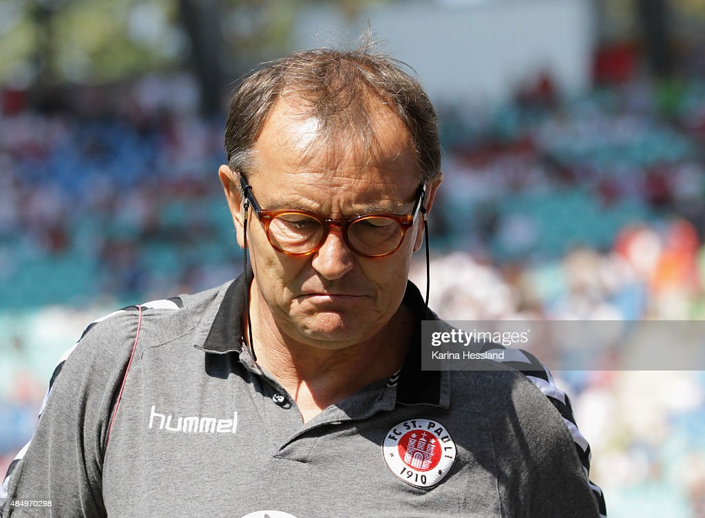 Headcoach Ewald Lienen of St. Pauli during the Second League match between RB Leipzig and FC St.Pauli at Red-Bull Arena on August 23, 2015 in Leipzig, Germany.