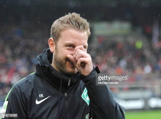 Headcoach Florian Kohfeldt of SV Werder Bremen reacts before the Bundesliga match between SportClub Freiburg and SV Werder Bremen at...
