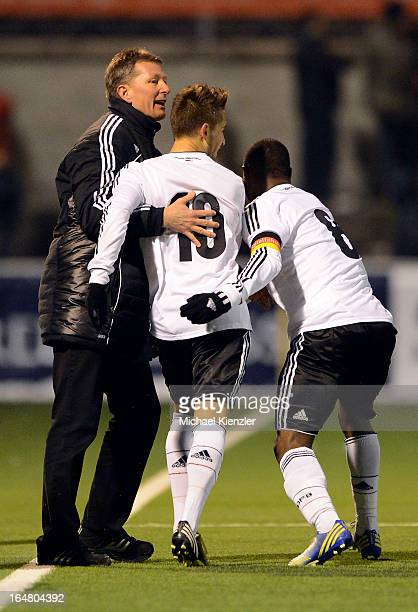 Headcoach Frank Wormuth celebrates with goalscorer Moritz Leitner and Reinhold Yabo during the international friendly match between U20 Switzerland...