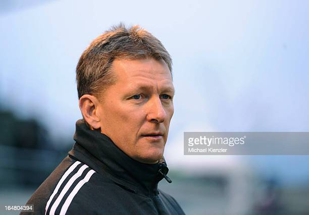 Headcoach Frank Wormuth looks on during the international friendly match between U20 Switzerland and U20 Germany at Eps Stadium on March 26 2013 in...