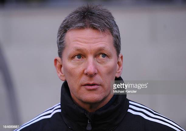 Headcoach Frank Wormuth of Germany before the international friendly match between U20 Switzerland and U20 Germany at Eps Stadium on March 26 2013 in...