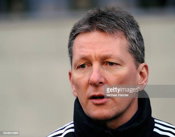Headcoach Frank Wormuth of Germany looks on during the international friendly match between U20 Switzerland and U20 Germany at Eps Stadium on March...