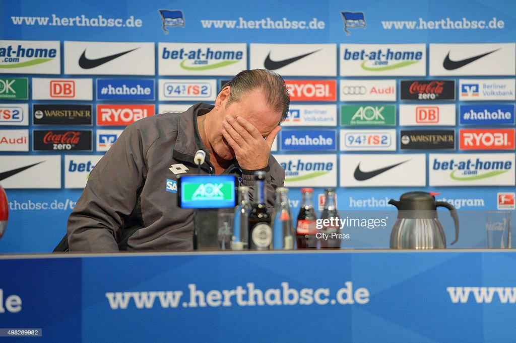 Headcoach Huub Stevens of TSG 1899 Hoffenheim reacts during the the press conference after the Bundesliga match between Hertha BSC and TSG Hoffenheim on November 22, 2015 in Berlin, Germany.