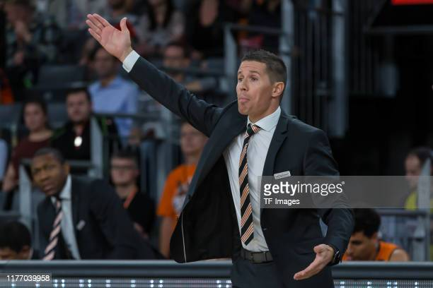 Headcoach Jaka Lakovic of Ratiopharm Ulm gestures during the EuroCup match between Ratiopharm Ulm and Promitheas Patras at ratiopharm Arena on...