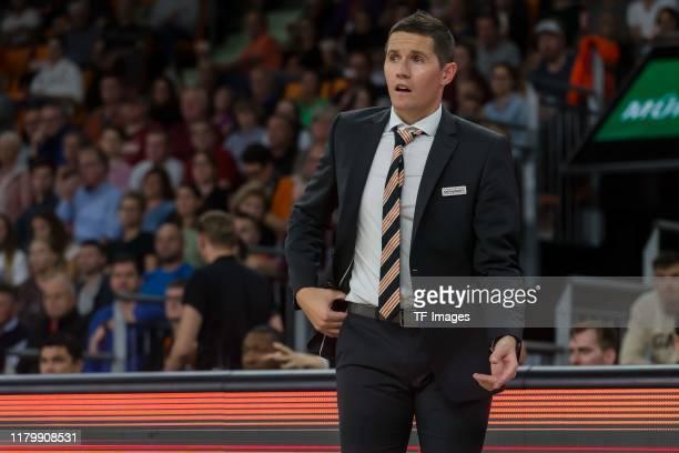 Headcoach Jaka Lakovic of Ratiopharm Ulm gestures during the EasyCredit Basketball Bundesliga match between Ratiopharm Ulm and Fraport Skyliners at...