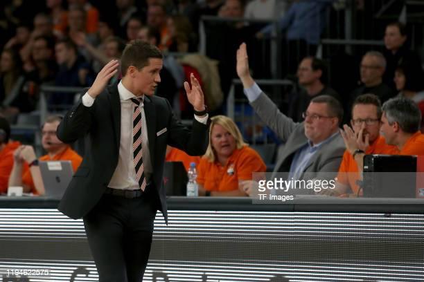 Headcoach Jaka Lakovic of Ratiopharm Ulm gestures during the EasyCredit Basketball Bundesliga match between Ratiopharm Ulm and Medi Bayreuth at...