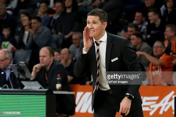 Headcoach Jaka Lakovic of Ulm gestures during the EasyCredit Basketball Bundesliga match between Ratiopharm Ulm and Basketball Loewen Braunschweig at...