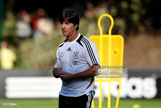 Headcoach Joachim Loew of Germany attends a training session on September 04, 2012 in Barsinghausen, Germany, three days before their FIFA World Cup...