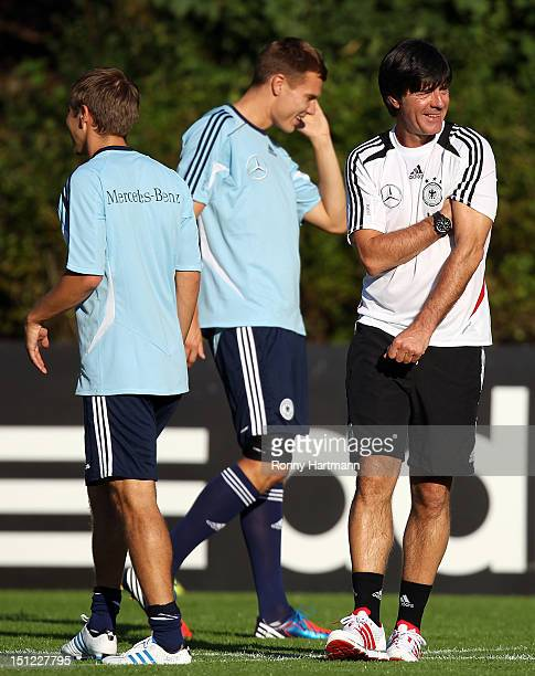 Headcoach Joachim Loew of Germany smiles during a training session on September 04, 2012 in Barsinghausen, Germany, three days before their FIFA...