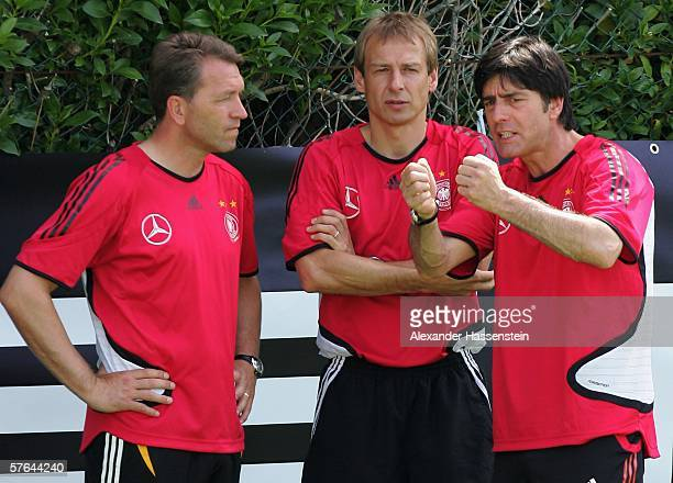 Headcoach Juergen Klinsmann and his assistants coaches Andreas Koepcke and Joachim Loew looking on during the Training Camp of the German National...