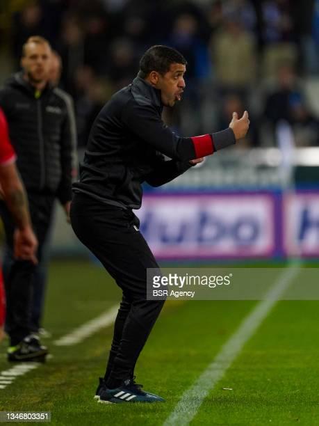 Headcoach Karim Belhocine of KV Kortrijk during the Jupiler Pro League match between Club Brugge and KV Kortrijk at Jan Breydelstadion on October 15,...