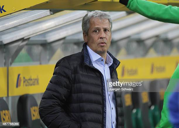 Headcoach Lucien Favre of Moenchengladbach awaits the kickoff of the Bundesliga match between Borussia Moenchengladbach and Hamburger SV at...