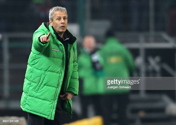 Headcoach Lucien Favre of Moenchengladbach gives instructions during the Bundesliga match between Borussia Moenchengladbach and FC Schalke 04 at...