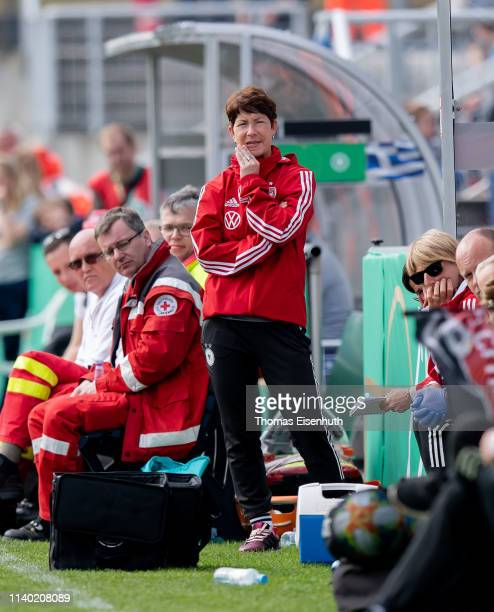 Headcoach Maren Meinert of Germany reacts during the UEFA Women's U19 European Qualifier match between Germany and Greece at...