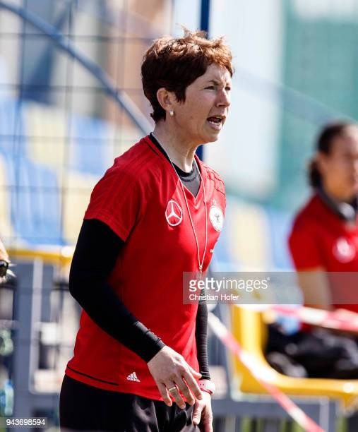Headcoach Maren Meinert of Germany reacts on the touchline during the UEFA Women's Under19 Elite Round match between England and Germany on April 9...