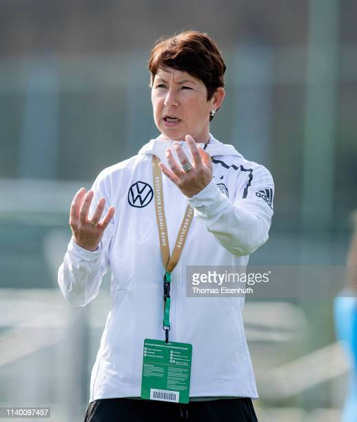 Headcoach Maren Meinert of Germany reacts prior the UEFA Women's U19 European Qualifier match between Germany and Greece at WernerSeelenbinderStadion...