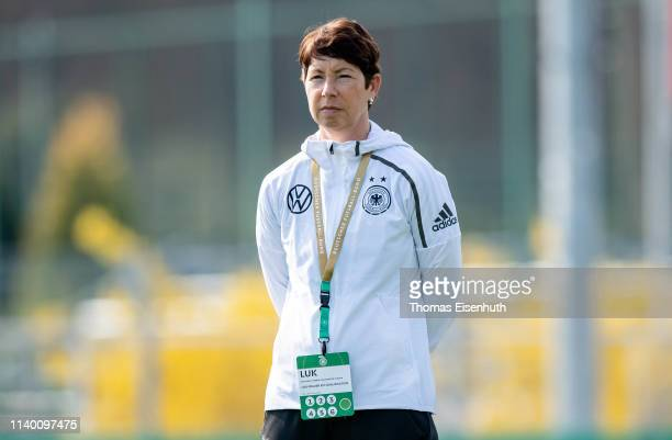 Headcoach Maren Meinert of Germany reacts prior the UEFA Women's U19 European Qualifier match between Germany and Greece at WernerSeelenbinderStadion...