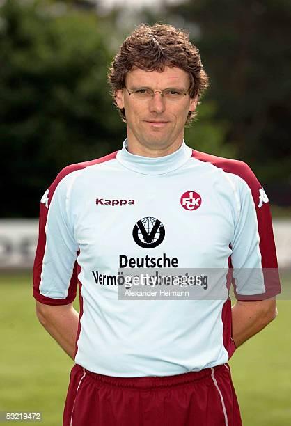 Headcoach Michael Henkeposes for a photograph during the team presentation of 1FC Kaiserslautern for the Bundesliga season 2005 2006 on July 10 2005...