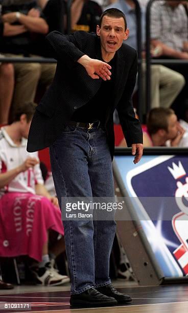 Headcoach Michael Koch of Bonn gestures during the Basketball Bundesliga play-off quarter final match between Artland Dragons Quakenbrueck and...