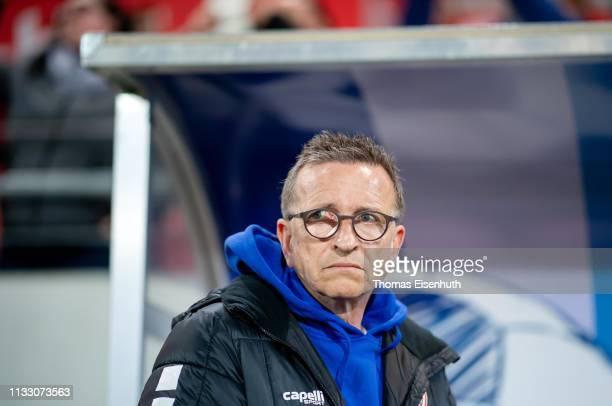 Headcoach Norbert Meier of Uerdingen reacts prior the 3 Liga match between Hallescher FC and KFC Uerdingen 05 at ErdgasSportpark on March 01 2019 in...