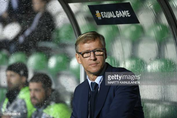 Headcoach of Finland Markku Kanerva is pictured during the Nations League football match between Finland and Estonia on September 11 in Turku Finland...