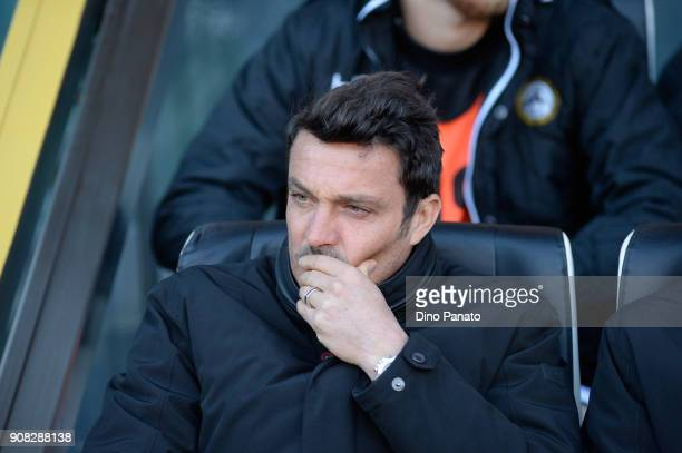 Headcoach of Udinese Massimo Oddo looks on during the serie A match between Udinese Calcio and Spal at Stadio Friuli on January 21 2018 in Udine Italy